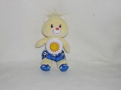7  BEACH PARTY  FUNSHINE  CARE BEAR Plush With Shorts & Sandals 2005 - VGC • 8.99£