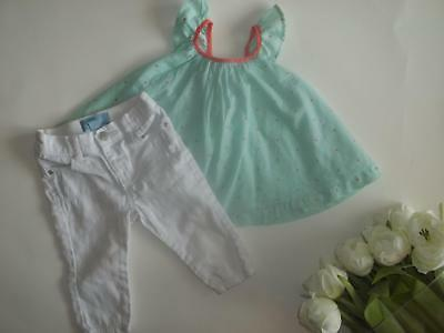 £13.28 • Buy Baby Gap Girl 6-12M Spring Summer Top White Pants Clothes Outfit Lot 6 12 Months