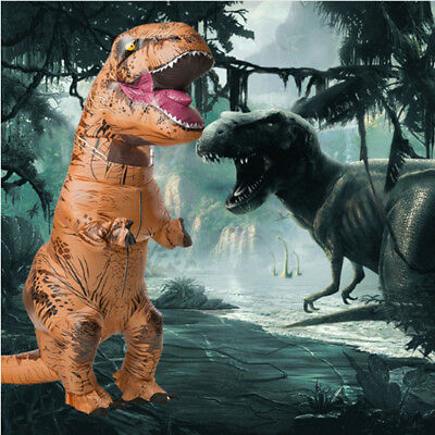 Halloween Xmas T-REX Inflatable Dinosaur Costume Jurassic Dress Blowup Outfit • 29.99£