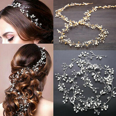 $ CDN3.99 • Buy 59  Long Wedding Hair Vine Crystal Pearl Headband Bridal Accessories Gold Silver