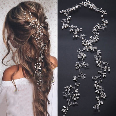 $1.65 • Buy New 35cm Pearl Wedding Hair Vine Crystal Bridal Accessories Diamante Headbands