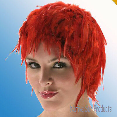 $17.95 • Buy Wig Rooster Hackle Feathers Halloween Costume Punk Retro New RED