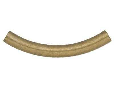 $13.99 • Buy 50 Antiqued Gold Plated Brass 26x3mm Curved Tube Noodle Beads