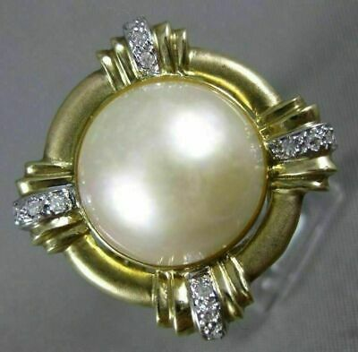 $877.50 • Buy Estate Large .25ct Diamond & Aaa Mabe Pearl 14kt White & Yellow Gold Flower Ring