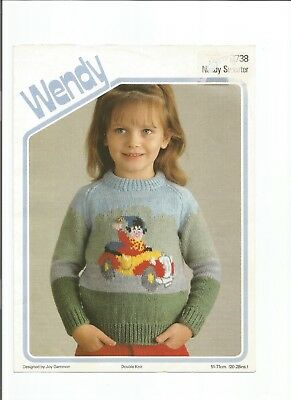 Double Knitting Pattern For Child's Noddy Sweater 20-28 Inches Wendy 2738 • 2.25£