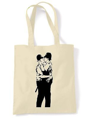 BANKSY KISSING COPPERS SHOPPING  SHOULDER BAG - Police Tote - Choice Of Colours • 6.50£