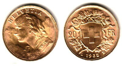 $359.99 • Buy Swiss 1935 Bu -- Ww-ii Era Near Melt Gold 20 Franc--a Recognized Small Gold Coin