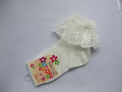Girls Bridesmaid Holy Communion Organza Frill Butterfly Ankle Socks Cream 6-8 BN • 4£
