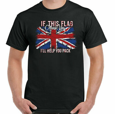 Union Jack T-Shirt Flag Offends Mens St Georges Day Great Britain England GB Top • 8.99£