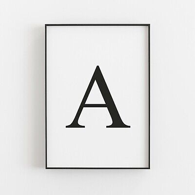 Monochrome Letter Print Personalised Initial Typography Home Wall Art A4 Poster • 4.39£