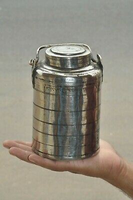 £26.09 • Buy Old Brass Nickel Plated Cylindrical Lines Engraved Oil/Ghee Handcrafted Pot