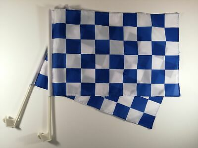 Checkered Car Flag Blue And White - 2 Pack • 11.99£
