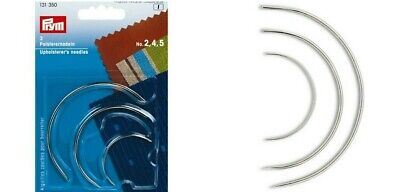 3 Curved Upholsterer's Needles Prym Sizes No.2,4,5 Repair & Upholstery Use • 2.95£