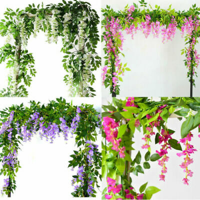£6.99 • Buy 2x7FT Artificial Wisteria Vine Garland Plants Foliage Trailing Flower In/Outdoor