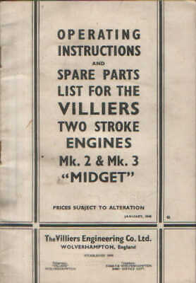 Villiers Mk 2 & Mk 3  Midget  Two Stroke Engine Operators Manual With Parts List • 6.99£