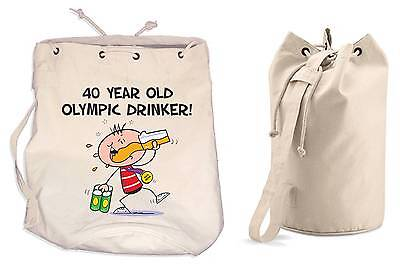 OLYMPIC DRINKER 40th BIRTHDAY DUFFLE BAG - Gift Present Backpack • 13.99£