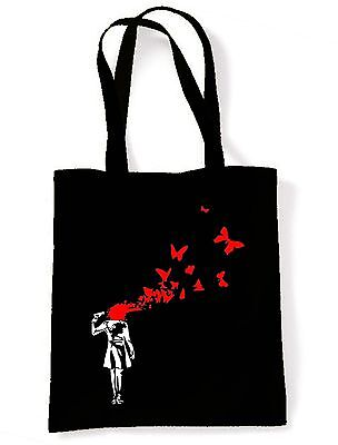 Banksy Butterfly Suicide Eco Friendly Tote  Shoulder Bag - Butterflies Girl • 7.50£