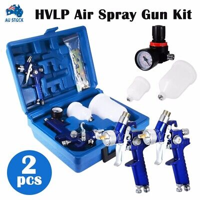 AU55.99 • Buy HVLP Air Spray Gun Kit 1.4mm 0.8mm Nozzle Set Paint Touch Up Gravity Feed
