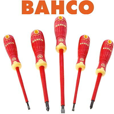 £17.80 • Buy BAHCO VDE Screwdriver Set 5 Piece 1000V Insulated Pozidrive PZ & Slotted B220015
