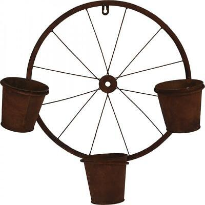 Rustic Metal Wheel Wall Hanging Garden Herb Flower Plant Planter With 3 Pots • 13.49£