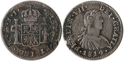 $ CDN46.33 • Buy 1814 Mexico (Spanish) 1/2 Real Silver Coin Ferdinand VII KM#73