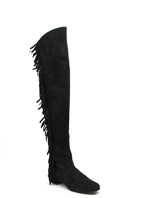 AU668.96 • Buy Saint Laurent Woman's Black Suede Over The Knee Fringed Boots 438270 1000