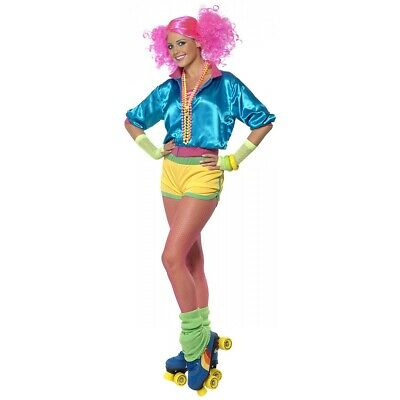 AU49.96 • Buy 80s Costume Adult Roller Skating Neon Skater Girl Outfit Halloween Fancy Dress