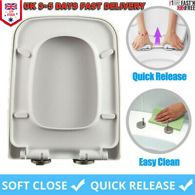 £17.19 • Buy Luxury Square Toilet Seat Heavy Duty Soft Close Quick Release Hinges Easy Clean