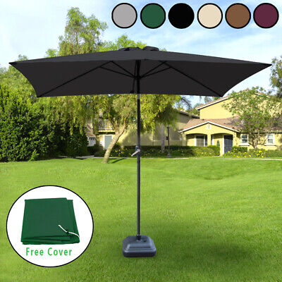 Rectangle Garden Parasol 2x3m Shade Outdoor Patio Umbrella Crank Tilt Free Cover • 71.98£