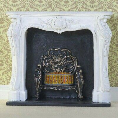 1/12 Scale Dolls House Emporium White Rococo Style Fireplace 8090 • 12.95£