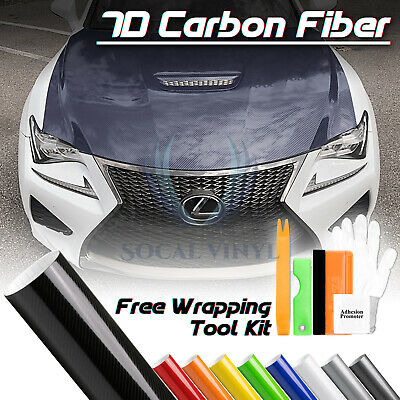 6D Premium HIGH GLOSS Black Carbon Fiber Vinyl Wrap Bubble Free Air Release