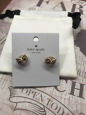 """$ CDN53.61 • Buy Kate Spade """"Star Bright"""" Reversible Owl Earrings/Pouch And Box- NWT"""