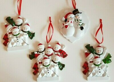 Personalised Christmas Tree Decoration Snowman Family On Sledge 2-6 & Baby Bump • 10.99£