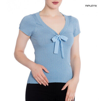 £7.50 • Buy Hell Bunny Shirt Rockabilly Top ANGETTE Shiny Twinkle Sky Blue All Sizes