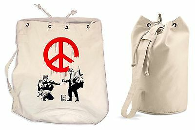 BANKSY CND SOLDIERS DUFFLE BAG College Rucksack Gym Beach Backpack Sports • 13.99£