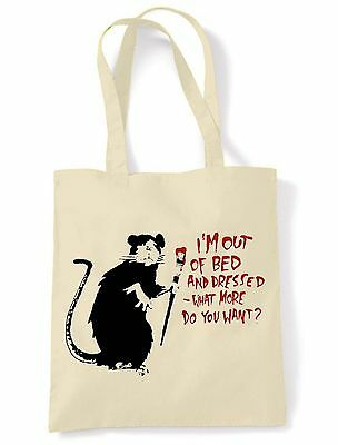 BANKSY I'M OUT OF BED & DRESSED RAT SHOULDER  SHOPPING BAG - Choice Of Colours • 6.50£