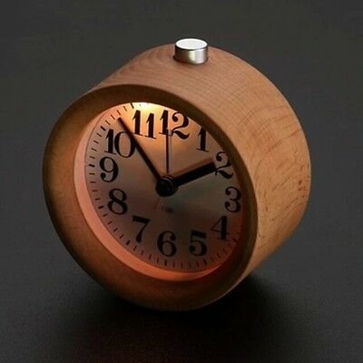 AU18.70 • Buy Classic Small Round Silent Table Snooze Beech Wood Alarm Clock Night Light