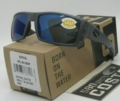 b5d2c41336 COSTA DEL MAR Matte Gray blue Mirror RAFAEL POLARIZED 580P Sunglasses NEW  IN BOX •
