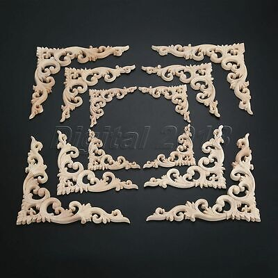 $5.84 • Buy Stylish Wood Carved Floral Decal Onlay Applique Furniture Wall Door Decoration