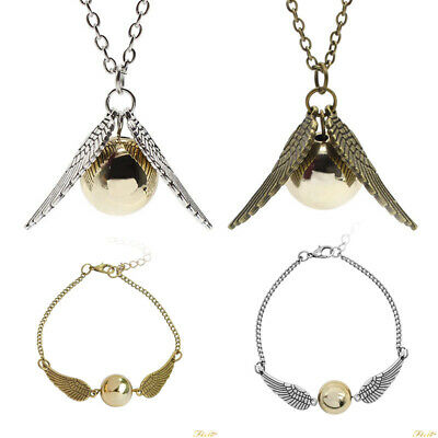 AU9.99 • Buy Harry Potter Quidditch Wings Golden Snitch Pendant Necklace Bracelet Gold/Silver