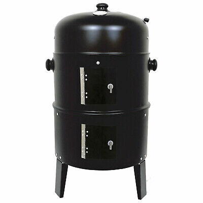 Black Bbq Charcoal Grill Barbecue Steel Smoker Garden Outdoor Cooking Summer New • 24.99£