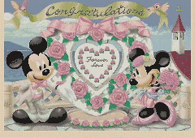 £4.50 • Buy Cross Stitch Chart - Mickey Mouse And Minnie's Wedding - Flowerpower37-uk