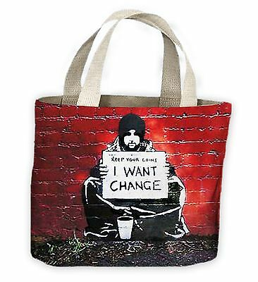 Banksy Keep Your Coins I Want Change Tote Shopping Bag For Life • 9.99£