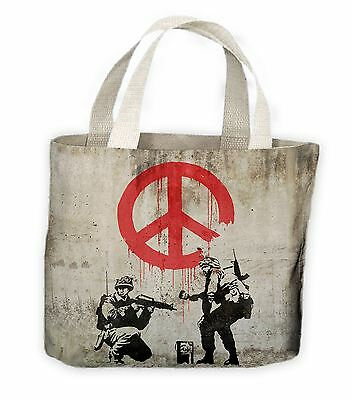 Banksy CND Soldiers Tote Shopping Bag For Life - Peace Symbol • 9.99£