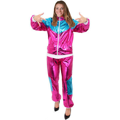 £18.99 • Buy Ladies Pink And Blue Shell Suit 1980s Scouser Chav Shiny Tracksuit Fancy Dress