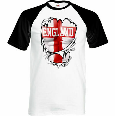 £8.94 • Buy MENS ENGLAND T-SHIRT St Georges Day Football Gym English Rugby Flag Torn Ripped