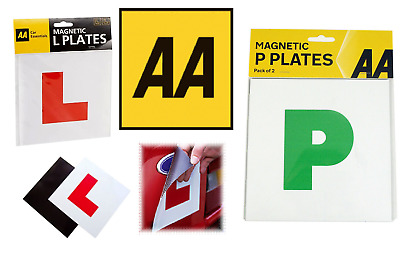 AA FULLY MAGNETIC L & P  PLATES - Pair Of Car Learner & Passed Plates (66) • 4.50£