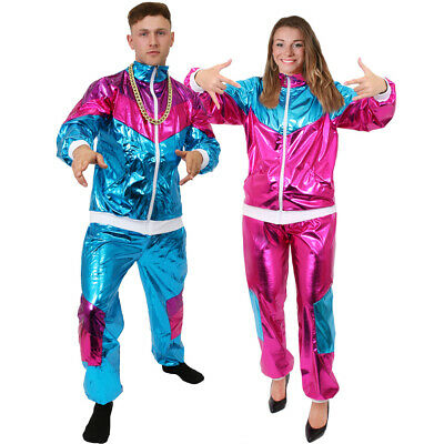 1980s Shell Suit Costume Scouser Shiny Retro Tracksuit Mens Ladies Fancy Dress • 18.99£