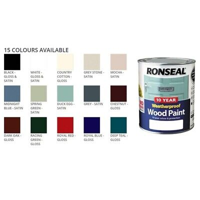 Ronseal 10 Year Weatherproof Wood Paint 750ml Satin Gloss 2in1 No Primer Needed • 16.65£