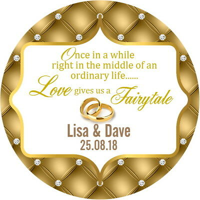 24 Personalised Gold Gloss Wedding Favour Thank You Stickers Fairy Tale Quote • 2.40£